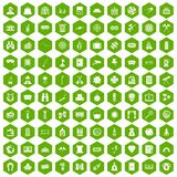 100 adult games icons hexagon green. 100 adult games icons set in green hexagon isolated vector illustration Royalty Free Stock Photography