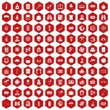 100 adult games icons hexagon red. 100 adult games icons set in red hexagon isolated vector illustration Stock Photography