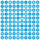 100 adult games icons set blue. 100 adult games icons set in blue hexagon isolated vector illustration Stock Illustration