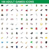 100 adult games icons set, cartoon style. 100 adult games icons set in cartoon style for any design illustration royalty free illustration