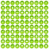 100 adult games icons set green circle. Isolated on white background vector illustration Stock Illustration