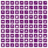 100 adult games icons set grunge purple. 100 adult games icons set in grunge style purple color isolated on white background vector illustration Royalty Free Stock Photography
