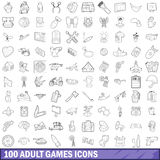 100 adult games icons set, outline style Royalty Free Stock Photography