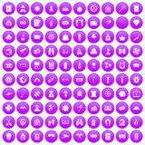 100 adult games icons set purple. 100 adult games icons set in purple circle isolated on white vector illustration Royalty Free Stock Photography