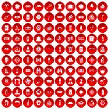 100 adult games icons set red. 100 adult games icons set in red circle isolated on white vector illustration Royalty Free Stock Photography