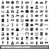 100 adult games icons set, simple style Royalty Free Stock Photography
