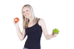 Adult girl with apples Royalty Free Stock Photography