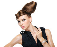 Adult girl with creative fashion stylish hairstyle stock photos