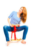 Adult girl fooling around and having fun Royalty Free Stock Photos