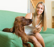 Adult girl with red Irish setter. Happy girl sitting on sofa with red Irish setter Royalty Free Stock Images