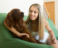 Adult girl with red Irish setter Stock Photo