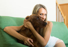 Adult girl with red Irish setter. Long-haired girl sitting on sofa at home and hugging red Irish setter Stock Photos