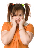 Adult girl with a two pony-tail Royalty Free Stock Photo