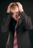 Adult guy on black backout Royalty Free Stock Image