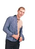 Adult guy in a blue striped shirt isolate Royalty Free Stock Image