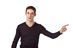 Adult guy on isolate background. Portrait adult guy on isolate background Stock Photography