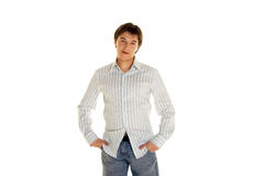 Adult guy in shirt;. Adult guy  in shirt - isolated on white background Stock Photography