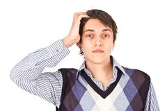 Adult guy weariness Royalty Free Stock Photography