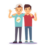 Adult guys, men, two best friends. Friendship vector concept. Happy friends two man, illustration of friendly hug royalty free illustration