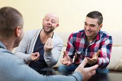 Adult guys sitting at table. Chatting and smiling indoors Stock Image