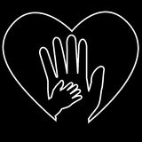 Adult Hand and Baby Hand at Love Shape white at black background Stock Photo