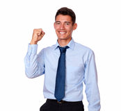 Adult handsome businessman celebrating his victory Royalty Free Stock Photos