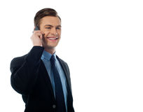 Adult handsome executive communicating on mobile. Handsome business executive communicating on cellphone against white background Stock Photo