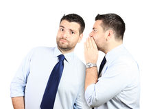 Adult handsome man listening to himself Stock Image