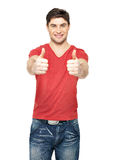 Adult happy man with thumbs up gesture Royalty Free Stock Images