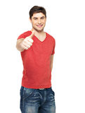 Adult happy man with thumbs up gesture. In casuals isolated on white background Stock Photo