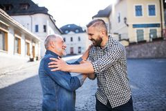 An adult hipster son and his overjoyed senior father in town, greeting. An adult hipster son and his overjoyed senior father in town, greeting each other Stock Images