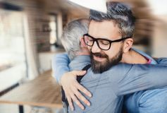 An adult hipster son and senior father indoors at home, hugging. An adult hipster son with glasses and senior father indoors at home, hugging royalty free stock image