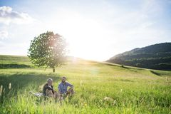 An adult hipster son with senior father sitting on the grass in sunny nature. An adult hipster son with his senior father sitting and talking on the grass in Royalty Free Stock Images
