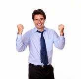 Adult hispanic businessman celebrating his victory Stock Photography