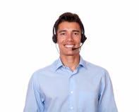 Adult hispanic man speaking on microphone Stock Photo