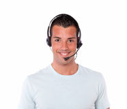 Adult hispanic man talking with headphones Stock Photography