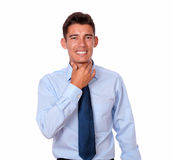 Adult hispanic young man with throat pain Royalty Free Stock Photo