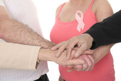 Adult holding a breast cancer logo Royalty Free Stock Photos