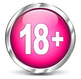 Adult icon. Vector illustration of adult chrome and pink icon on white background vector illustration