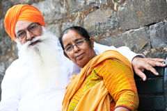 Adult indian sikh man. Portrait of elderly Indian sikh men in turban with bushy beard Royalty Free Stock Photography