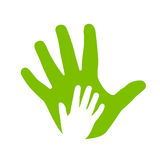 Adult and kid hands icon. Adult and kid hands, family icon Stock Images