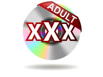 Adult. Label on compact disc (  Rate Stock Photo