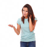 Adult lady speaking with angry gesture Stock Photos