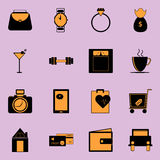 Adult lifestyle black and orange color icons Stock Photos