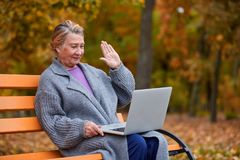 An adult pretty woman in an autumn park sits on a bench and with whom she communicates on a laptop. Outside. royalty free stock photo