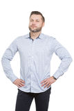 Adult male with a beard. isolated  white Royalty Free Stock Photography