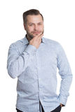Adult male with a beard. isolated on white. Background. Body language. non-verbal cues. training managers Royalty Free Stock Photos