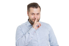 Adult male with a beard. isolated on white. Background. Body language. non-verbal cues. training managers Royalty Free Stock Photo