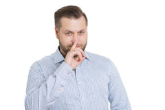 Adult male with a beard. isolated on white. Background. Body language. non-verbal cues. training managers Royalty Free Stock Photography