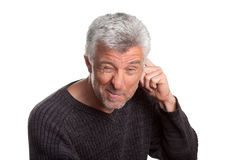 Adult male cunning. Gray hair isolated on white background stock images